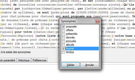 Assistance à la saisie via le moteur de synonymes open source intégré (Hunspell)
