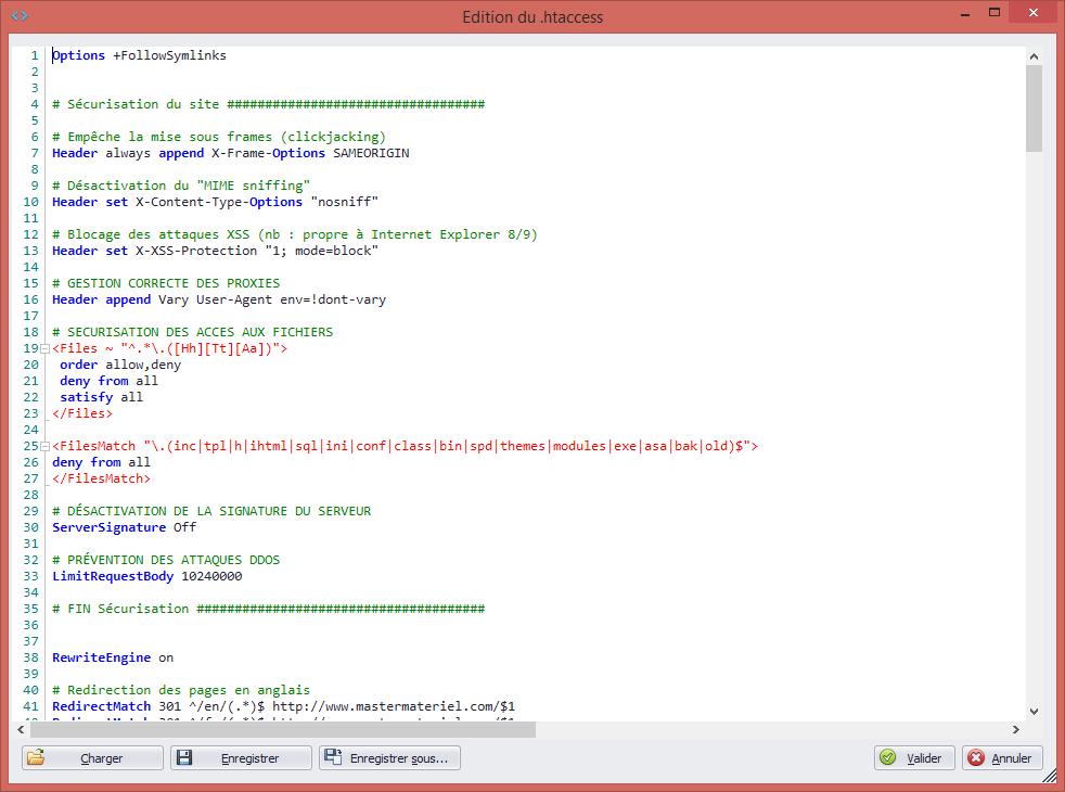 Editeur de fichier .htaccess avec coloration syntaxique