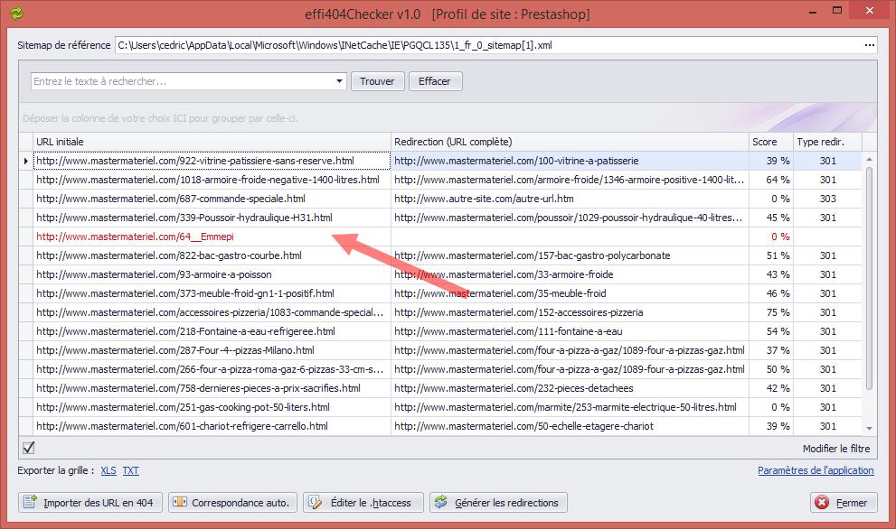Interface utilisateur simple avec mise en surbrillance des URL non traitées