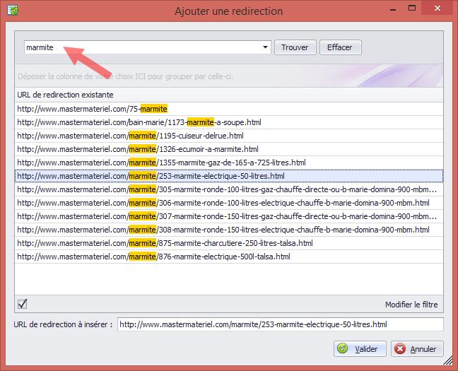 Outil de recherche manuelle des redirections avec moteur de recherche intégré