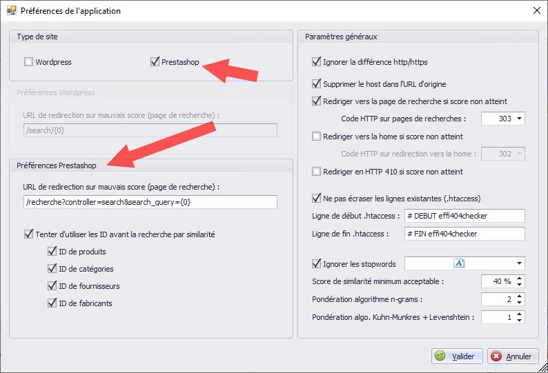 Un paramétrage complet du logiciel (ici avec les préférences spécifiques à Prestashop)